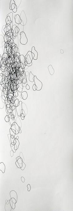 Swim tall 8 x 24 original abstract drawing by AllisonLongHardy