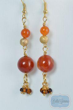 Banded Agate & Gold dangle earrings by BellaGemmaJewelry on Etsy, $20.00