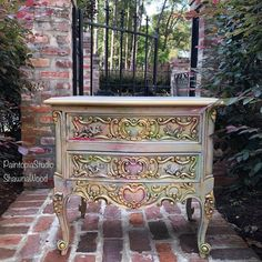 Painted Dresser Vintage Gold Chest Chest of Drawers Gold Hand Painted Dressers, Funky Painted Furniture, Painted Bedroom Furniture, Refurbished Furniture, Furniture Makeover, Vintage Furniture, Cool Furniture, Furniture Stores, Etsy Furniture