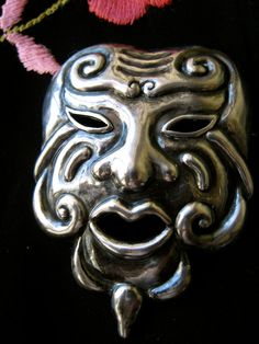 Los Castillo Sterling Silver Mask Mexico Pin by 8mapleterrace, $110.00