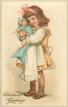1908 Frances Brundage Christmas Girl with Doll Postcard