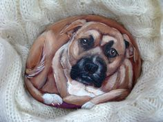 Painted Rock of your pet, custom order for Anthony Pebble Painting, Stone Painting, Rock Painting, Diy Painting, Painted Pavers, Hand Painted Rocks, Painted Stones, Brick And Stone, Stone Art