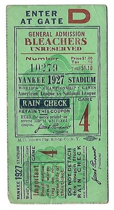 1927 WORLD SERIES GAME 4 TICKET STUB-SUPER RARE-FREE USA SHIP-RUTH GEHRIG MEUSEL