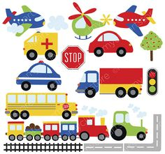 Trains Planes and Trucks Clipart Transportation primary