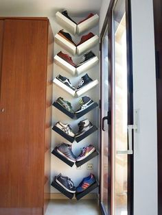 Show Off Your Style: 10 Decorative Ways to Organize Shoes & Accessories | Apartment Therapy This idea is so clever!