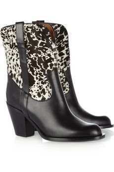 Michael Kors Leather and calf hair cowboy boots | THE OUTNET
