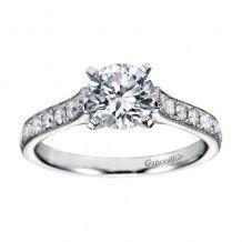14k White Gold 0.37ct Diamond Gabriel & Co Straight Semi Mount Engagement…
