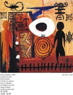 Kristopher Atikossie Togo, Spiral Game, Acrylic on canvas 1999 African, Canvas, Games, Movie Posters, Movies, Pocket, Art, Spirals, Tela
