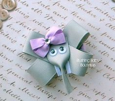 Elephant Hair Clip-- Perfect for Spring-- Birthdays and Baby Showers - For Laila to wear :-)