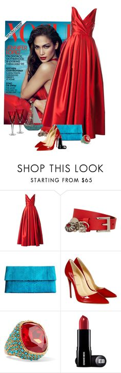 """Ocean Blue and Red"" by ahapplet ❤ liked on Polyvore featuring Reem Acra, Alexander McQueen, Saveén, Christian Louboutin, Kenneth Jay Lane, magazine and ahapplet"