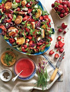 Strawberry Salad with Warm Goat Cheese Croutons | MyRecipes