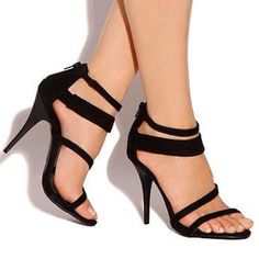 """NWT ShuShop Black Strappy 4"""" Heels Strappy heel sandals, featuring zipper in the back for a personal fit.  Heel measures approximately 4"""" ShuShop Shoes Heels"""