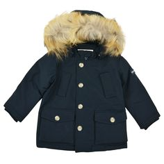 MY 1st ARCTIC PARKA  BABY FUR HOODED NAVY DOWN ARCTIC PARKA From www.kidsandcouture.com