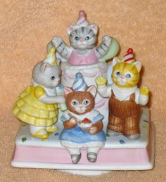 """Rare Vintage Kitty Cucumber """" BIRTHDAY PARTY """" Music box by Catloversdream on…"""
