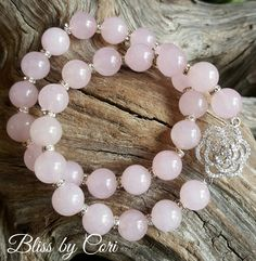 Rose Quartz Beaded Stretch Bracelet Duo with Micro Pave Rose *FREE SHIPPING* by BlissbyCori on Etsy $50.00