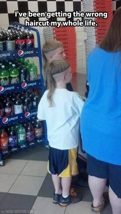 Bowl cut mullet… @Nina Cook you should cut your husbands hair like this next time. :D