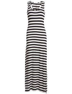 6705ba9d1b9 Black and White Stripe Racer Back Maxi Dress Latest Dress For Women