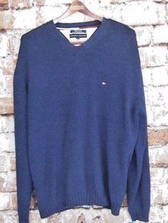 TOMMY HILFIGER Dark Blue Men's XL V Neck Pullover Sweater Sweatshirt Long Sleeve #TommyHilfiger #VNeck