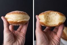 These naturally leavened bomboloni (doughnuts) are incredibly light, slightly crisp, just sweet enough, and delicious. Made only from simple ingredients and a sourdough starter. Sourdough Doughnut Recipe, Sourdough Recipes, Sourdough Bread, Sourdough English Muffins, Bread Recipes, Vegan Recipes, Just Desserts, Delicious Desserts, Dessert Recipes