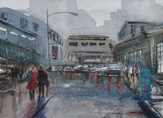 Watercolor Class Preview: How to paint a street scene. How to paint reflections. How to use colors to create amood for a rainy day. How to highlight the foreground against the background. How to paint...