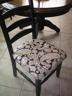 Repainted and Recovered kitchen chair