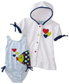 7cf047625c8 Amazon.com  Baby Bunz Girls Newborn Fishy Fun Swimsuit With Terry Cover-Up