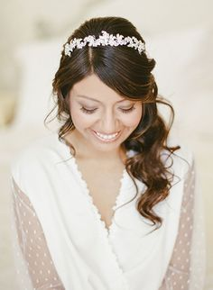 A crystal headpiece fit for a princess | @rebeccayale | Brides.com