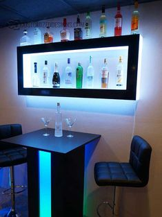 Lighted Back Bar Wall Display Shelves - LED Lighting - Modern Design