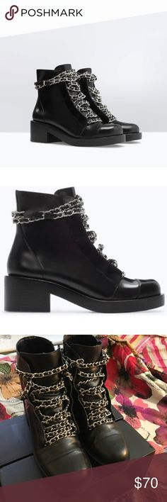 Zara Leather Lace-Up Booties With Chains Zara Black leather chain laces boot 2/12-3 inch heel side zipper gently worn creases in front slight scuffs on backs and side and front Zara Shoes Ankle Boots & Booties