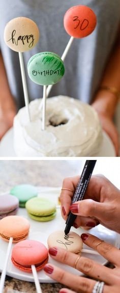Macarons with Edible Ink for Cake Banners