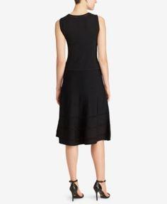 Lauren Ralph Lauren Fit & Flare Knit Dress - Black XL