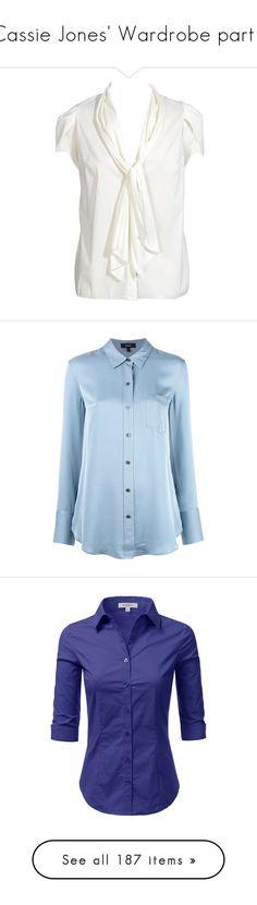 """Cassie Jones' Wardrobe part I"" by capfan2014 on Polyvore featuring vintage, steveandcassie, tops, blouses, shirts, blusas, focus sale, white v neck blouse, neck tie blouse and v neck shirt"