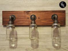 Rustic Bathroom Lighting, Rustic Light Fixtures, Vanity Light Fixtures, Rustic Lighting, Pipe Lighting, Vanity Lighting, American Walnut, Mason Jars, Bulb
