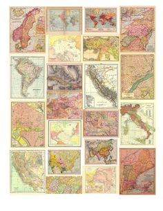 20 Free Printable Antique Maps- easy to downl - Top Paper Crafts Images Vintage, Vintage Maps, Antique Maps, Antique Decor, Vintage Map Decor, Vintage Ideas, Vintage Crafts, Vintage Stuff, Vintage Travel