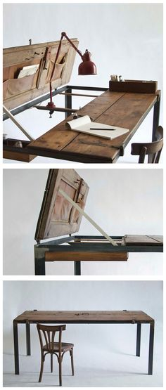 Office desk made from a recycled door.