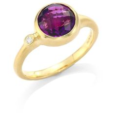 Carelle Amethyst & Diamond Stack Ring ($920) ❤ liked on Polyvore featuring jewelry, rings, 18 karat gold ring, diamond fine jewelry, fine jewelry, fine jewelry diamond rings and diamond jewellery