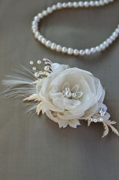 champagne bridal hair clip, cream, wedding hair flower, lace hair flower
