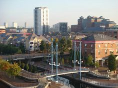 City of Salford Metropolitan borough and city. A view over Salford, Greater Manchester