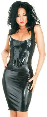 d13e02010 Honour Women's Sexy Corset Top in Black Rubber Tudor Style Push Up Front