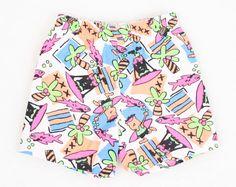 Vintage 2T Shorts Toddler Shorts Bathing Suit Swimsuit Neon New Wave SURFER Shorts 1980s 80s Rad Summer Shorts #vintage #etsy #80s #1980s #shorts #toddler #2t
