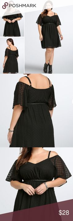 COMING SOON!! I Textured Off Shoulder Dress Available to ship on Monday June 19!  Brush your shoulders off, no one's gonna look as good as you in this flit and float black dress. Black chiffon gets a textured touch with chevron print embroidery. Off shoulder cutouts add volume to the gathered waistline and waist-cinching faux leather belt. torrid Dresses