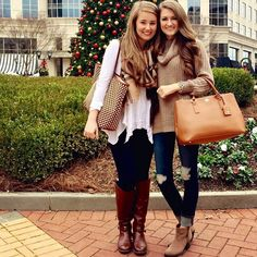 Best friend fashion. Riding boots + distressed dark jeans + sweaters and scarves + purses