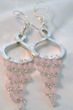 Rose Quartz 925 Silver Hoop Chandelier Dangle Earrings