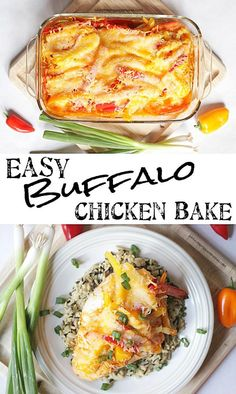 Easy + Delicious = My favorite kind of dinner recipe! Making this ASAP! Buffalo Chicken Bake via thepinningmama.com