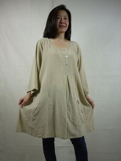 Boho Casual Plus Size 4/5 Sleeve Round Neck Hand Dyed Beige Cotton Blouse/Tunic With 2 Roomy Pockets