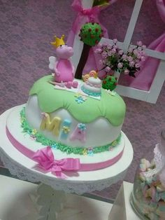 What a pretty cake at a Peppa Pig birthday party! See more party ideas at CatchMyParty.com!