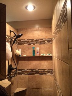 Walk In Shower With Programmable Timed Heat Lamp That Lightens It Up And  Heats It Nicely