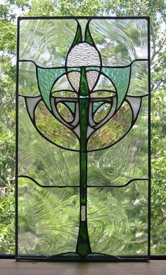 Art Deco Stained Glass Window Panel FREE by HillCountryGlass, $290.00