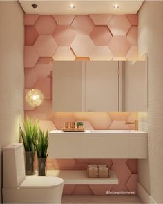 ideias para lavabo pequeno is part of Wallpaper house design - Bad Inspiration, Bathroom Inspiration, Modern Bathroom Design, Bathroom Interior Design, Design Kitchen, Design Bedroom, Bathroom Designs, Home Wallpaper, Bathroom Wallpaper