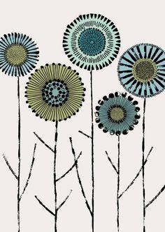 Spring Stems, limited edition giclee print By Eloise Renouf Art Floral, Ceramic Painting, Fabric Painting, Motif Art Deco, Ouvrages D'art, Art Et Illustration, Flower Doodles, Pattern Art, Doodle Art